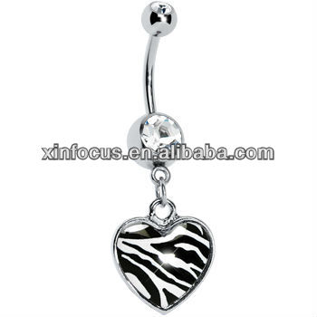 Hot Sale Zebra Print Heart Dangle Belly Button Ring