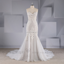 XY-17076 Newest Boho light grey strapless fit-and-flare lace wedding dress