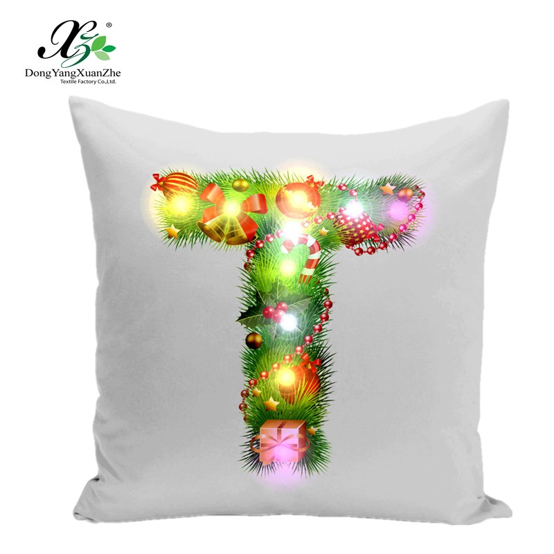 2017 Novelty night lighting up LED letter cushion cover