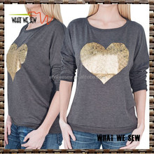 gold printing womens heather grey wholesale sweatshirts loose fit casual sweatshirts custom cheap 2015