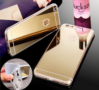 "New Rose gold Luxury Mirror Soft Clear TPU Case For iphone 6 6S 4.7 inch & iPhone6 Plus 5.5"" & 5se 5s 5 Cover"