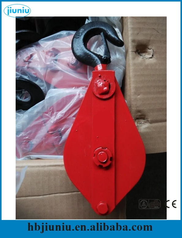 Open block pulley, hoisting pulley block triple wheel rotary hoist frame