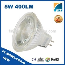 New design Glass 5w cob 3000k mr16 led spot light