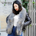 CX-G-A-53A High Quality Winter Full Pelt Real Raccoon Fur Collar Jacket