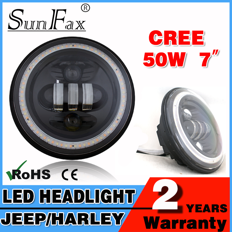 New arrival black 50w 7inch round car head light, Angel eye sealed led headlight with IP67 for Harley motorcycle Jeep Wrangler