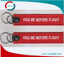 Kiss Me Before Flight Embroidery Keyring