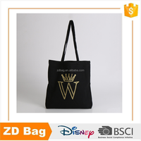 Top sale eco cheap black hadled OEM cotton canvas tote shopping bag