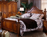 Northern Europe Style Double Pillar Bed Made of Solid Wood (BF11-1207e)