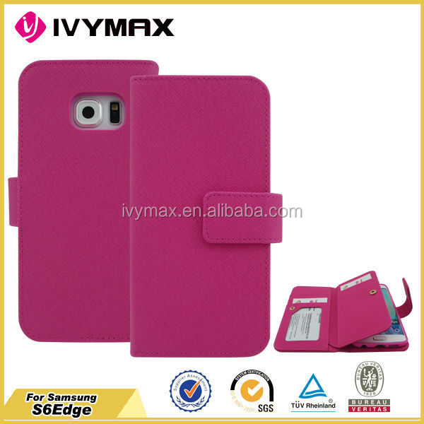 Good quality cover case for samsung galaxy s6 edge PU TPU leather wallet case