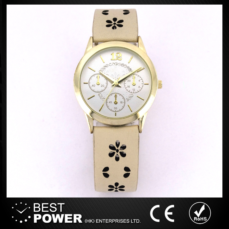 New Fashion chronograph ladies watch with seeing through flower patter leather band