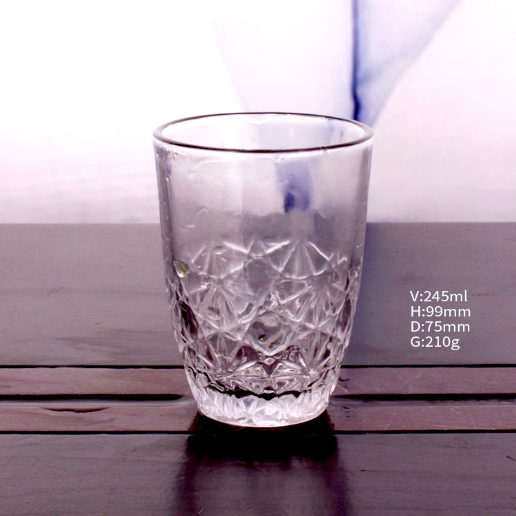 245ml clear empty glass cup for tea juice milk