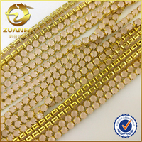 2mm thick brass AAA shinning crystal gemstone cup chains for cz jewelry