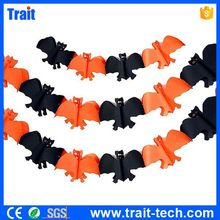 Halloween Paper Chain Garland Decorations Yellow And Black Bat
