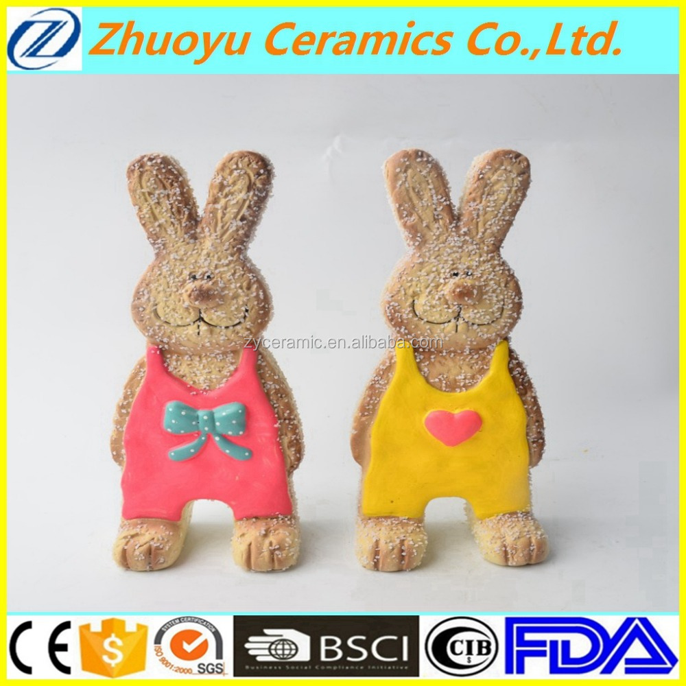 Cute ceramic bunny shape pretend cookie for easter