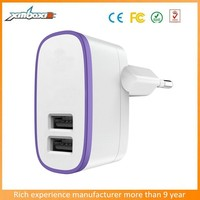 Privated Mould EU Power Adaptor AC Dual USB Wall Adapter with EU Round Pin Plug