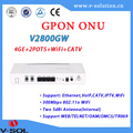 FTTH fiber gpon ont/onu 4ge+wifi+catv+2pots wireless support WEB management