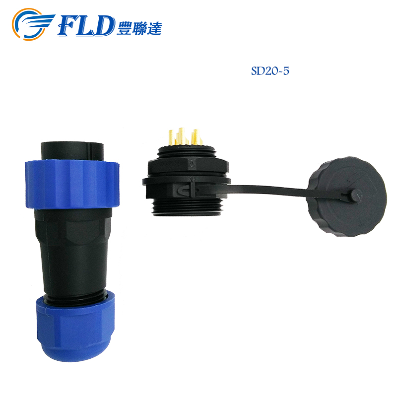China manufacture waterproof power 25A connector plug 5pin power rear mounted nut socket