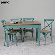 new fashioin 6 seats antique blue oak wood dining table and chair