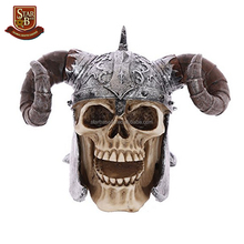 Factory custom made resin skull decoration with resin viking helmet with horns