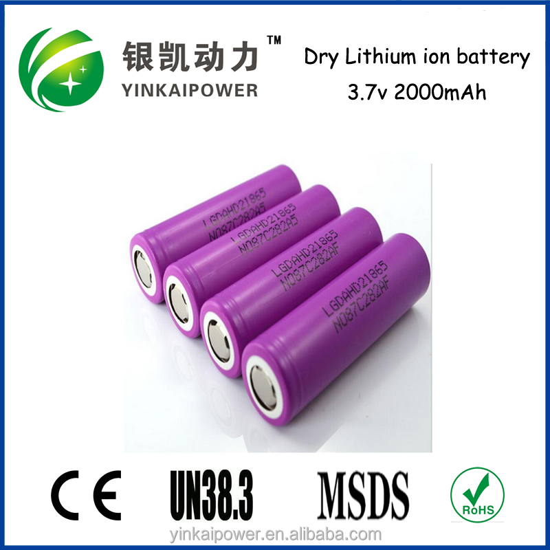 3.7v 2000mAh Nominal Voltage and Li-Ion Type 12 volt lithium ion battery ICR 18650 rechargeable
