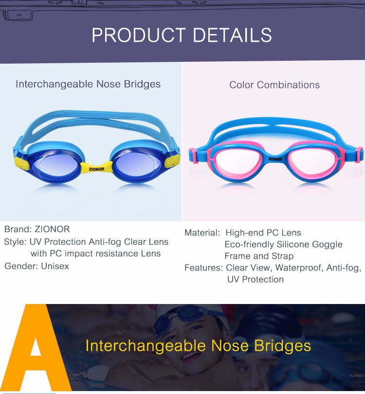 Free Sample Kids Waterproof UV Protect Anti-fog Changeable Nose Bridges Swimming Goggles Glass