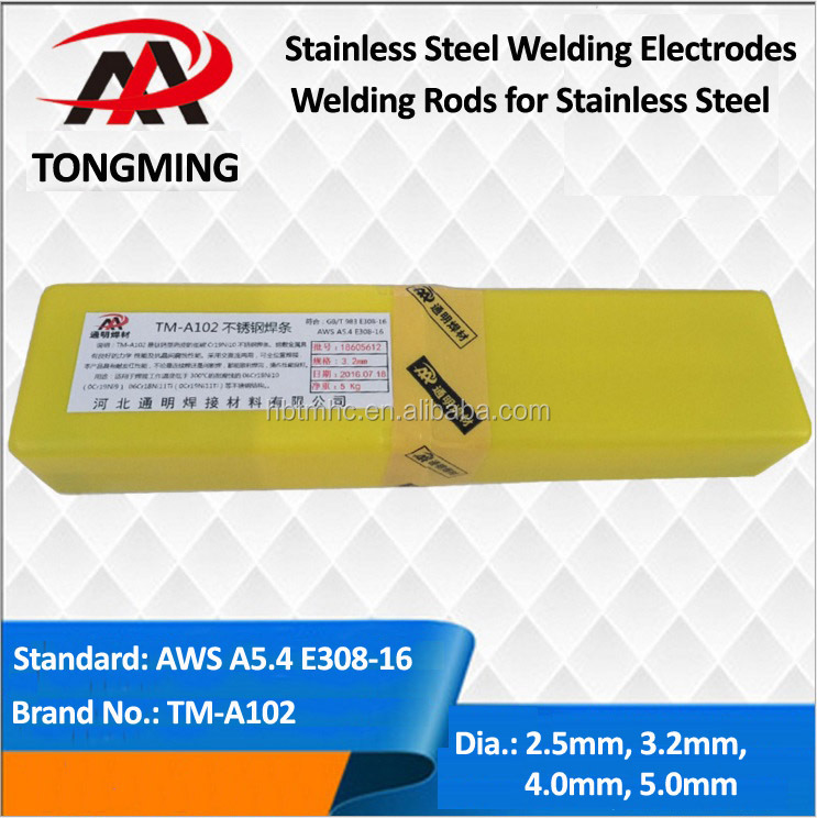 stainless steel welding electrodes, welding rods, AWS A5.4 E308-16, TM-A102