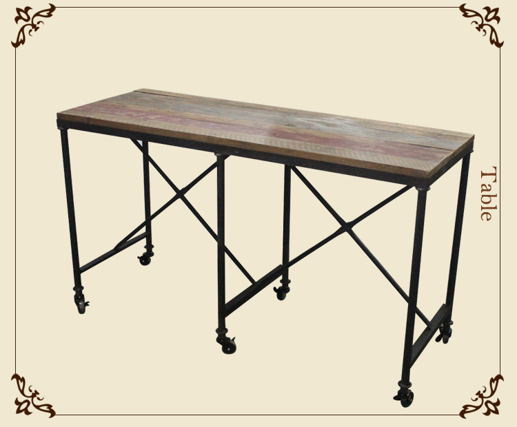 Industrial style furniture dining Table with Wheels