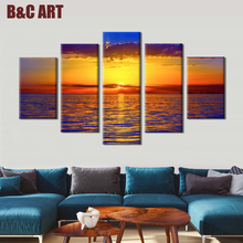 5 Piece Natural Landscape Photo Printing Custom Made Canvas Prints on Cotton
