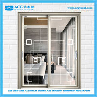 Long service life double entry aluminum sliding glass doors