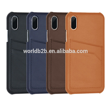 Snap On Pu leather case Cover For iPhone X with 2 Card Holder Slots
