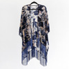 Black Velvet Cape With Floral Printing