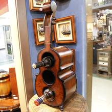 Aged Rustic Cello Guitar Violin Shape Wooden Wine Display Rack Storage Cabinet For Bar Decoration