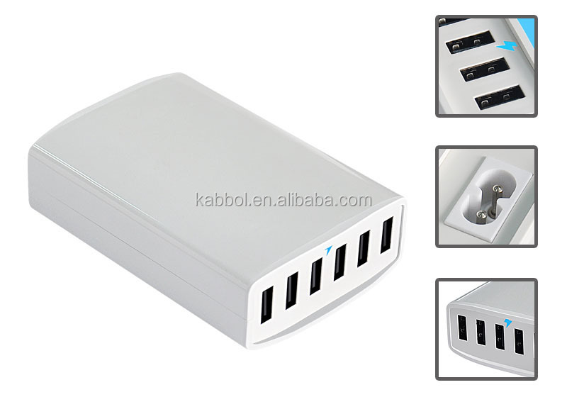 60W 6-Port Desktop USB Rapid Quick Charger with Smart IC Technology with Stand/5-Foot Power Cord for Apple iPad Air Mini