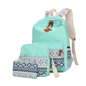 Hot Selling Cute Casual Canvas High Student School Backpack Bag For Girl 3 Pcs Set