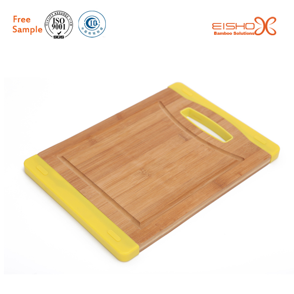 Silicone wrapping non-slip kitchen usage bamboo cutting board with holder
