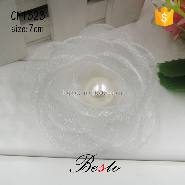 Wedding fashion bead center organza flower brooch for bridal