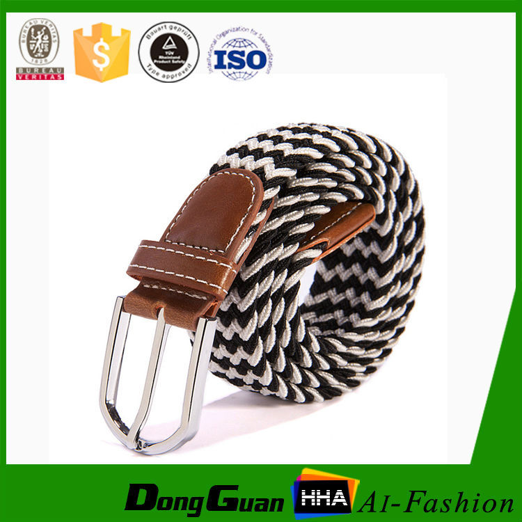 Unisex braided strech belt made of solid color elastic cord