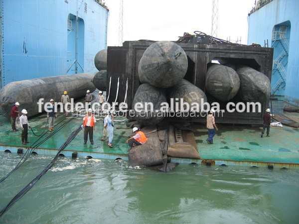 marine airbags used for salvage tube