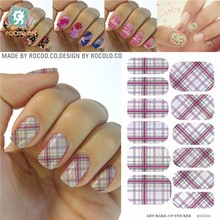 K5613B/Customs plaid design water transfer printing art nails decoration full wraps nail sticker