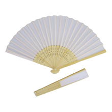 Wedding favor white folding fabric Hand Fans with 23 bamboo ribs