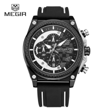 Quartz men's megir 2051 chronograph watch oem men sport silicon watch