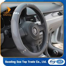 unique custom design microfiber genuine leather car steering wheel cover