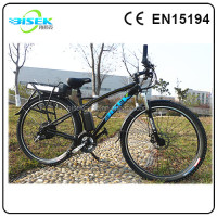 Pedal assisted electric mountain bike moped with 7-speed derailleur