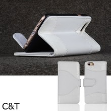 C&T Magnetic Closure Inner PC Holder PU Leather Flip Folio Wallet Protective Skin Phone Case for Apple iphone 6