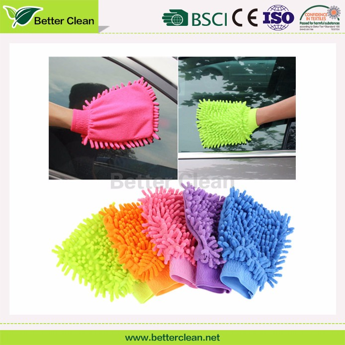Microfiber chenille colorful clean mitt for motorcycle gloves car wash