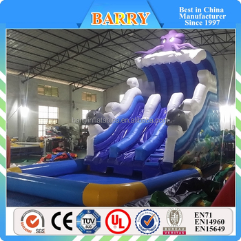 Barry New blue octopus inflatable water slide with pool Seaworld