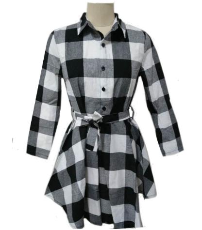 Autumn A-line Dresses Leisure Vintage Women Print Check Spring Casual Polo Shirt Mini Dresses