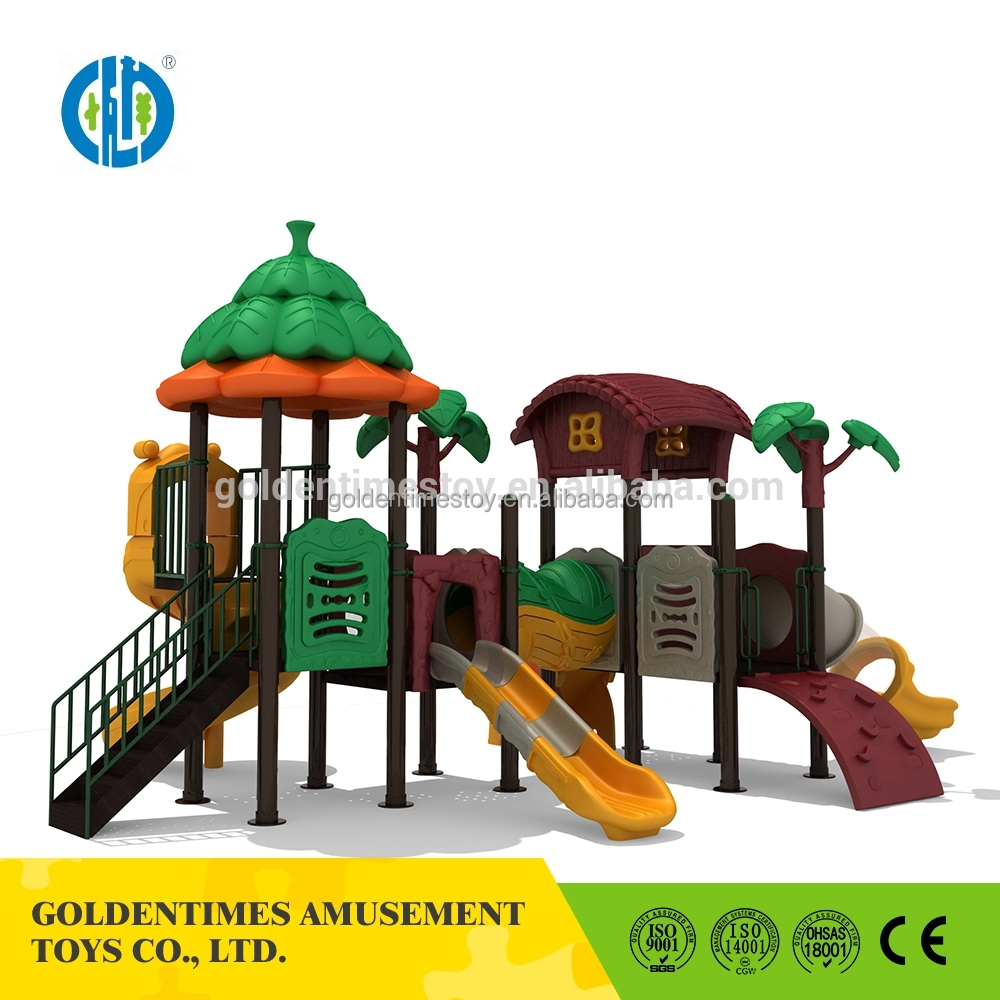 Amusement park jungle theme slide set outdoor playground for kids