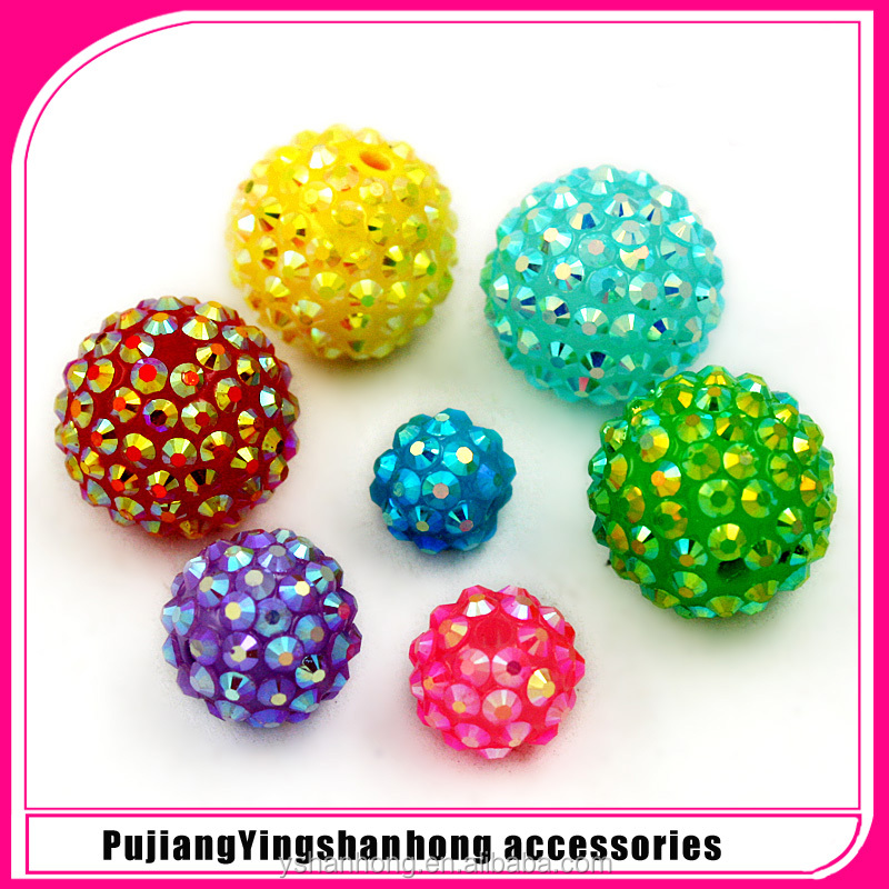 colorful Resin Acrylic Chunky Rhinestone bubblegum Bead