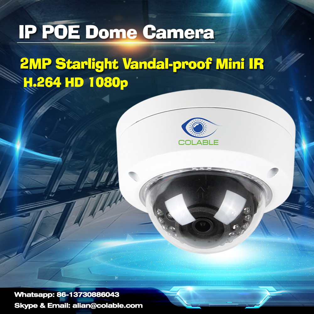 New arrival COL-SV2201WUR2P full HD 1080p H264 2MP Starlight Vandalproof Mini IR Dome Camera webcam small cctv camera